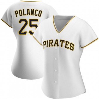 Women's Gregory Polanco Pittsburgh White Replica Home Baseball Jersey (Unsigned No Brands/Logos)