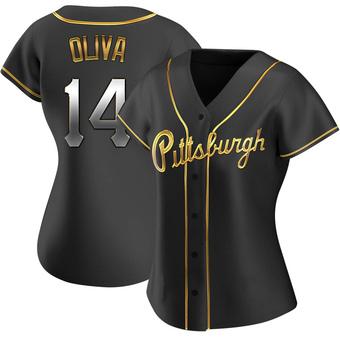 Women's Jared Oliva Pittsburgh Black Golden Replica Alternate Baseball Jersey (Unsigned No Brands/Logos)