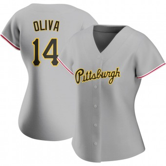 Women's Jared Oliva Pittsburgh Gray Authentic Road Baseball Jersey (Unsigned No Brands/Logos)