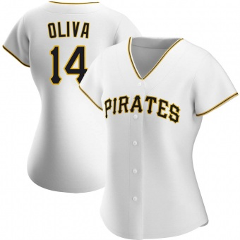 Women's Jared Oliva Pittsburgh White Authentic Home Baseball Jersey (Unsigned No Brands/Logos)
