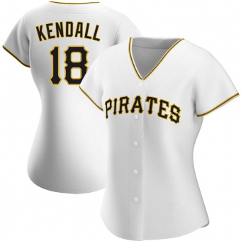 Women's Jason Kendall Pittsburgh White Authentic Home Baseball Jersey (Unsigned No Brands/Logos)