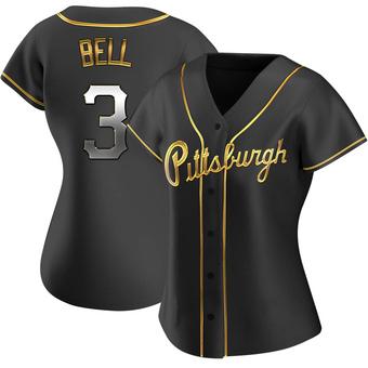 Women's Jay Bell Pittsburgh Black Golden Replica Alternate Baseball Jersey (Unsigned No Brands/Logos)