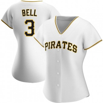 Women's Jay Bell Pittsburgh White Authentic Home Baseball Jersey (Unsigned No Brands/Logos)