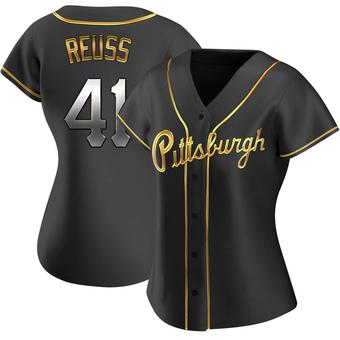 Women's Jerry Reuss Pittsburgh Black Golden Replica Alternate Baseball Jersey (Unsigned No Brands/Logos)