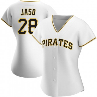 Women's John Jaso Pittsburgh White Authentic Home Baseball Jersey (Unsigned No Brands/Logos)
