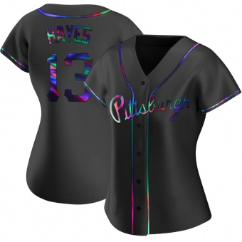 Women's Ke'Bryan Hayes Pittsburgh Black Holographic Replica Alternate Baseball Jersey (Unsigned No Brands/Logos)