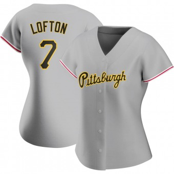 Women's Kenny Lofton Pittsburgh Gray Authentic Road Baseball Jersey (Unsigned No Brands/Logos)