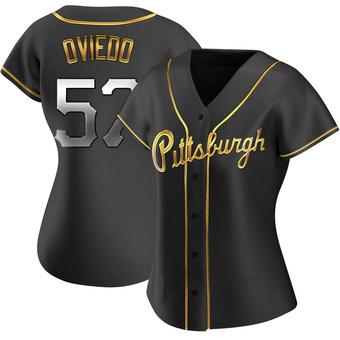 Women's Luis Oviedo Pittsburgh Black Golden Replica Alternate Baseball Jersey (Unsigned No Brands/Logos)