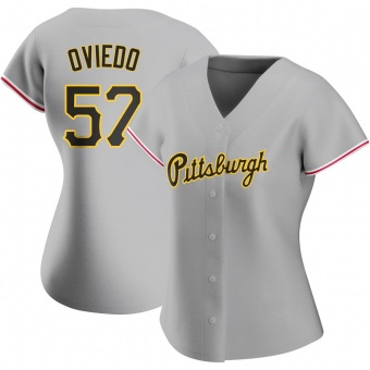 Women's Luis Oviedo Pittsburgh Gray Authentic Road Baseball Jersey (Unsigned No Brands/Logos)