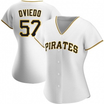 Women's Luis Oviedo Pittsburgh White Authentic Home Baseball Jersey (Unsigned No Brands/Logos)