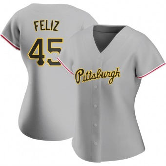 Women's Michael Feliz Pittsburgh Gray Authentic Road Baseball Jersey (Unsigned No Brands/Logos)