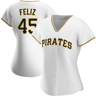 Women's Michael Feliz Pittsburgh White Authentic Home Baseball Jersey (Unsigned No Brands/Logos)