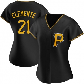 Women's Roberto Clemente Pittsburgh Black Authentic Alternate Baseball Jersey (Unsigned No Brands/Logos)