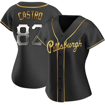 Women's Rodolfo Castro Pittsburgh Black Golden Replica Alternate Baseball Jersey (Unsigned No Brands/Logos)