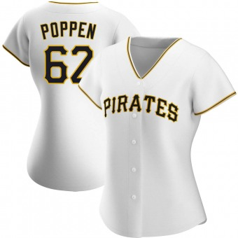 Women's Sean Poppen Pittsburgh White Authentic Home Baseball Jersey (Unsigned No Brands/Logos)