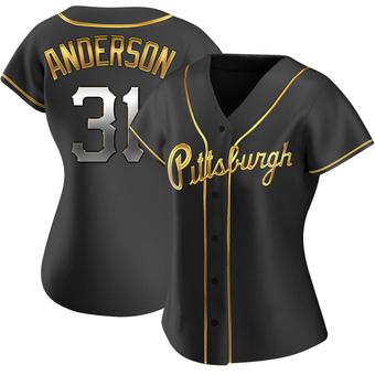 Women's Tyler Anderson Pittsburgh Black Golden Replica Alternate Baseball Jersey (Unsigned No Brands/Logos)
