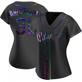 Women's Tyler Anderson Pittsburgh Black Holographic Replica Alternate Baseball Jersey (Unsigned No Brands/Logos)