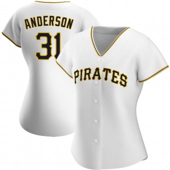 Women's Tyler Anderson Pittsburgh White Authentic Home Baseball Jersey (Unsigned No Brands/Logos)
