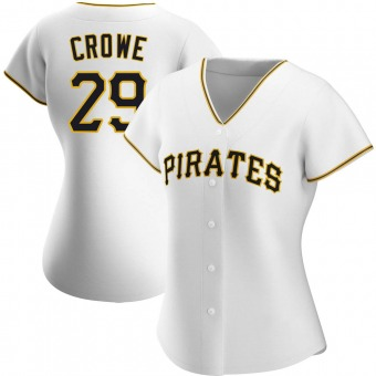 Women's Wil Crowe Pittsburgh White Authentic Home Baseball Jersey (Unsigned No Brands/Logos)
