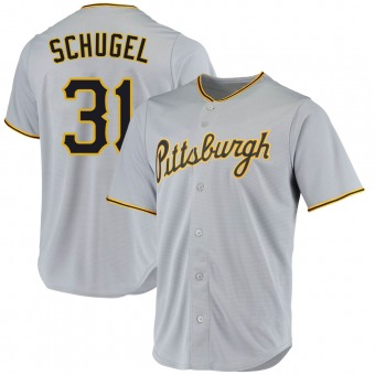 Youth A.J. Schugel Pittsburgh Gray Replica Road Baseball Jersey (Unsigned No Brands/Logos)