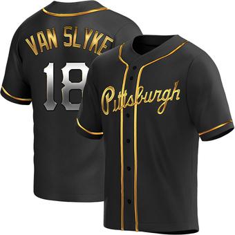 Youth Andy Van Slyke Pittsburgh Black Golden Replica Alternate Baseball Jersey (Unsigned No Brands/Logos)