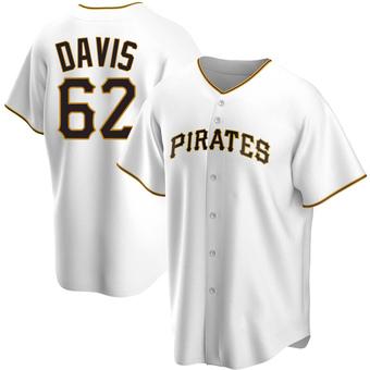 Youth Austin Davis Pittsburgh White Replica Home Baseball Jersey (Unsigned No Brands/Logos)