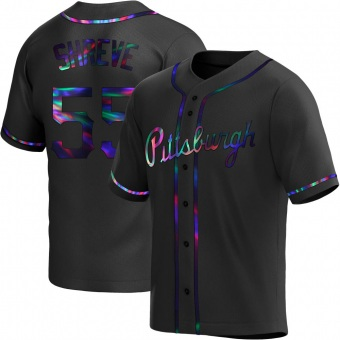 Youth Chasen Shreve Pittsburgh Black Holographic Replica Alternate Baseball Jersey (Unsigned No Brands/Logos)