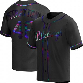Youth Chris Stratton Pittsburgh Black Holographic Replica Alternate Baseball Jersey (Unsigned No Brands/Logos)