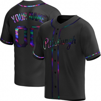 Youth Custom Pittsburgh Black Holographic Replica Alternate Baseball Jersey (Unsigned No Brands/Logos)