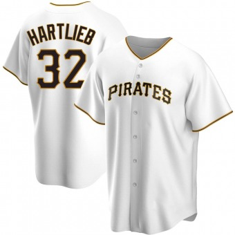 Youth Geoff Hartlieb Pittsburgh White Replica Home Baseball Jersey (Unsigned No Brands/Logos)