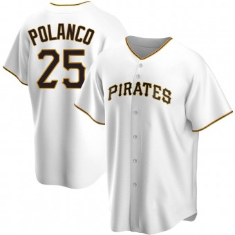 Youth Gregory Polanco Pittsburgh White Replica Home Baseball Jersey (Unsigned No Brands/Logos)