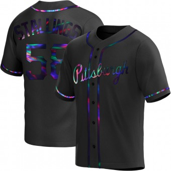 Youth Jacob Stallings Pittsburgh Black Holographic Replica Alternate Baseball Jersey (Unsigned No Brands/Logos)