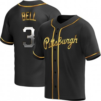 Youth Jay Bell Pittsburgh Black Golden Replica Alternate Baseball Jersey (Unsigned No Brands/Logos)