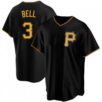 Youth Jay Bell Pittsburgh Black Replica Alternate Baseball Jersey (Unsigned No Brands/Logos)