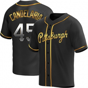 Youth John Candelaria Pittsburgh Black Golden Replica Alternate Baseball Jersey (Unsigned No Brands/Logos)