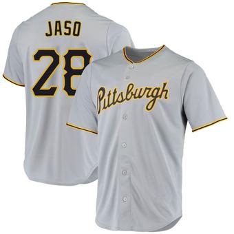 Youth John Jaso Pittsburgh Gray Replica Road Baseball Jersey (Unsigned No Brands/Logos)