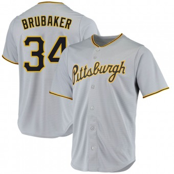 Youth JT Brubaker Pittsburgh Gray Replica Road Baseball Jersey (Unsigned No Brands/Logos)