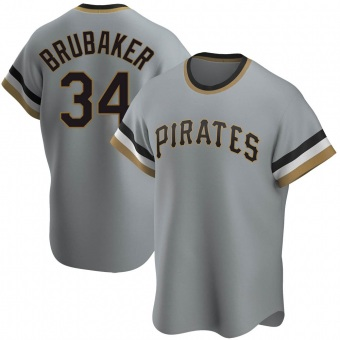 Youth JT Brubaker Pittsburgh Gray Replica Road Cooperstown Collection Baseball Jersey (Unsigned No Brands/Logos)