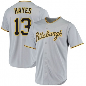 Youth Ke'Bryan Hayes Pittsburgh Gray Replica Road Baseball Jersey (Unsigned No Brands/Logos)