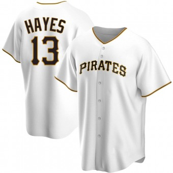 Youth Ke'Bryan Hayes Pittsburgh White Replica Home Baseball Jersey (Unsigned No Brands/Logos)