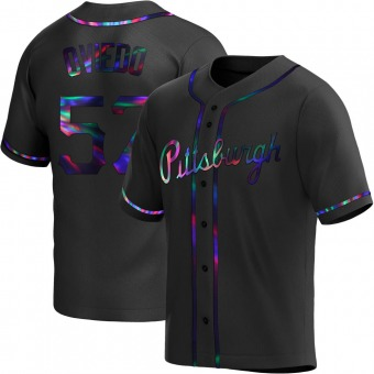 Youth Luis Oviedo Pittsburgh Black Holographic Replica Alternate Baseball Jersey (Unsigned No Brands/Logos)