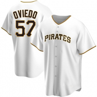 Youth Luis Oviedo Pittsburgh White Replica Home Baseball Jersey (Unsigned No Brands/Logos)