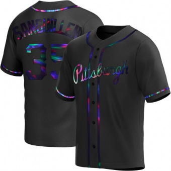 Youth Manny Sanguillen Pittsburgh Black Holographic Replica Alternate Baseball Jersey (Unsigned No Brands/Logos)