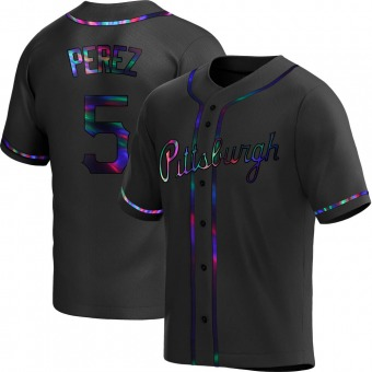 Youth Michael Perez Pittsburgh Black Holographic Replica Alternate Baseball Jersey (Unsigned No Brands/Logos)