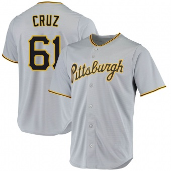 Youth Oneil Cruz Pittsburgh Gray Replica Road Baseball Jersey (Unsigned No Brands/Logos)