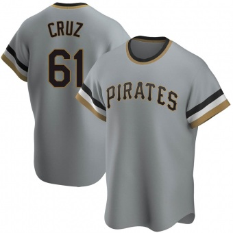 Youth Oneil Cruz Pittsburgh Gray Replica Road Cooperstown Collection Baseball Jersey (Unsigned No Brands/Logos)