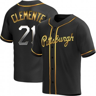 Youth Roberto Clemente Pittsburgh Black Golden Replica Alternate Baseball Jersey (Unsigned No Brands/Logos)