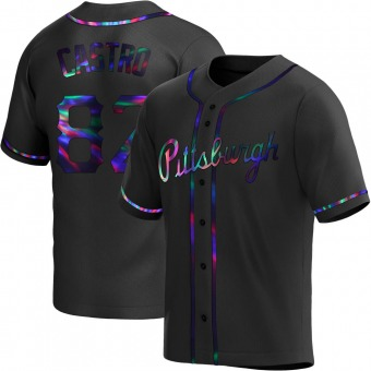 Youth Rodolfo Castro Pittsburgh Black Holographic Replica Alternate Baseball Jersey (Unsigned No Brands/Logos)