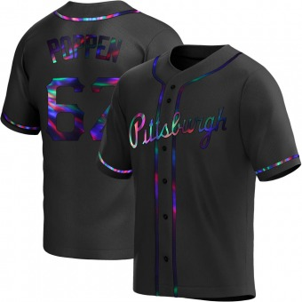 Youth Sean Poppen Pittsburgh Black Holographic Replica Alternate Baseball Jersey (Unsigned No Brands/Logos)