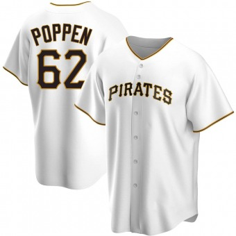 Youth Sean Poppen Pittsburgh White Replica Home Baseball Jersey (Unsigned No Brands/Logos)